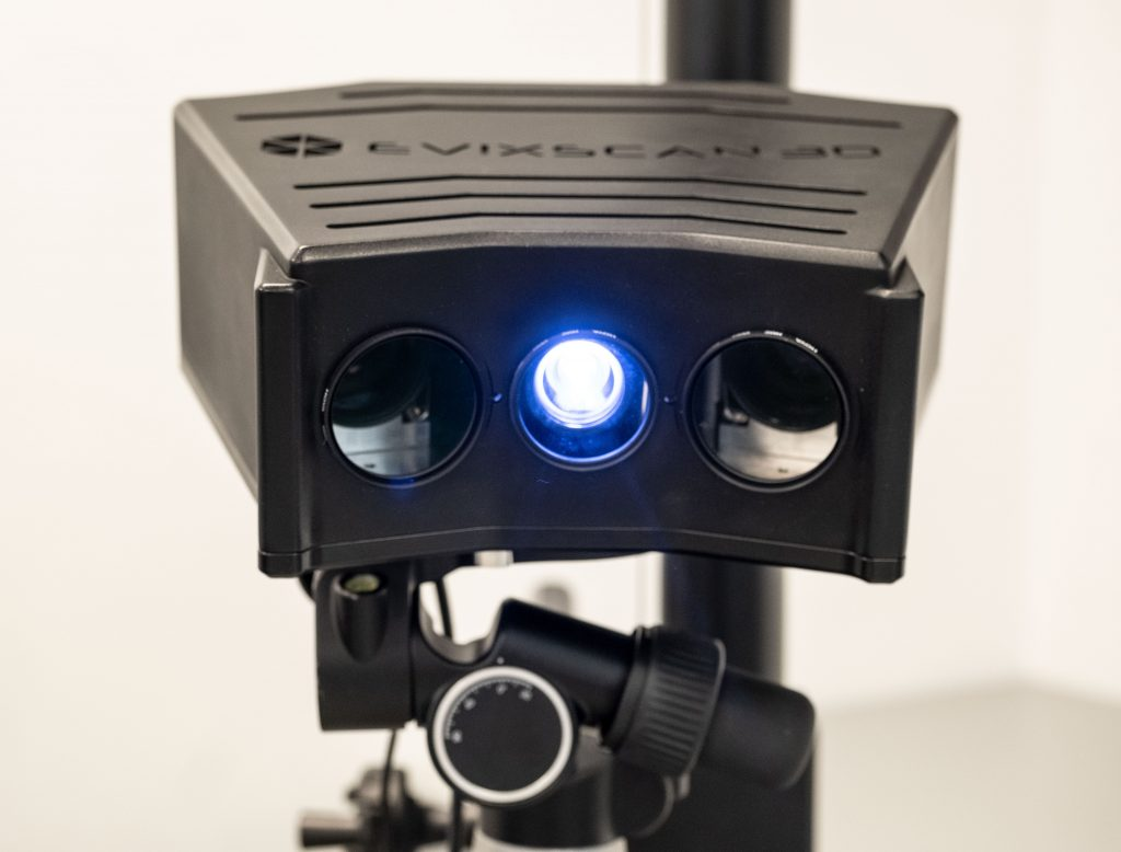 The FinePrecision 3D scanner operates on blue light technology and features two frontal cameras. Photo via Evatronix.