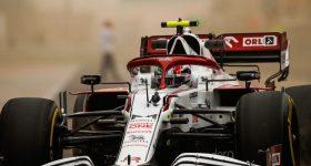 Alfa Romeo's 2021 F1 car during pre-season testing.
