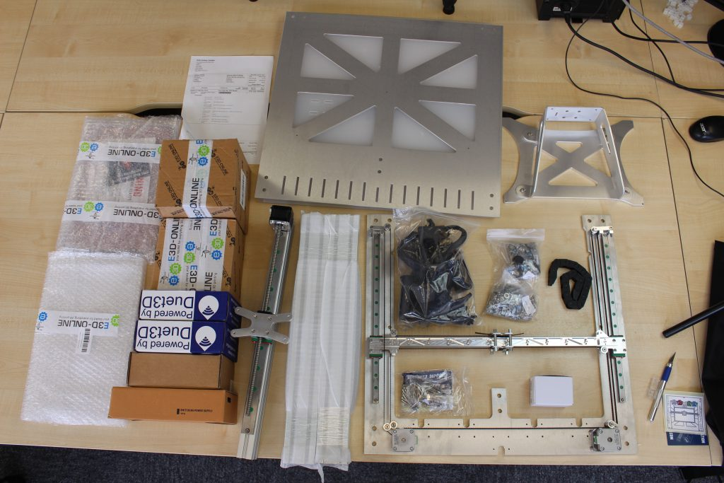 The unassembled contents of the E3D Motion System's box. Photo by 3D Printing Industry.
