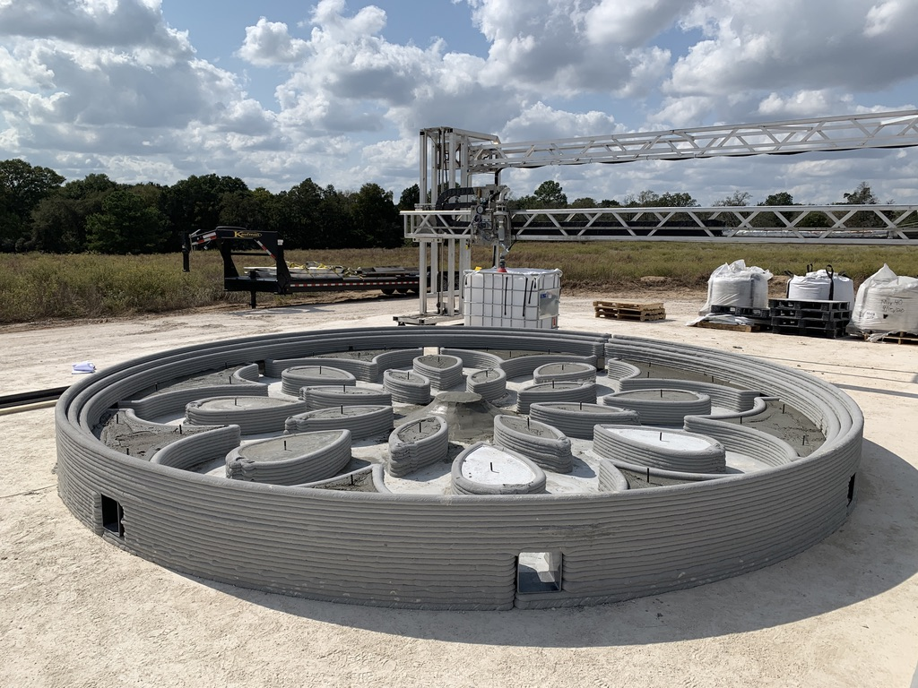 The 3D printed subscale prototype of the Lunar PAD ready for hot fire testing at Camp Swift. Photo via ICON.