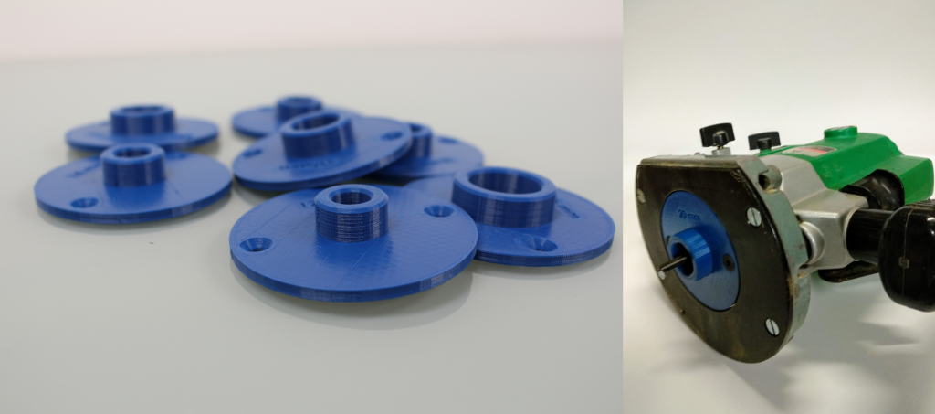 The 3D printed router guide plate. Photos by 3D Printing Industry.