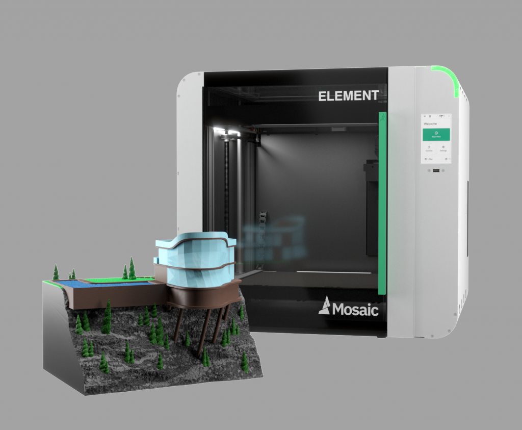 The Element 3D printer and a multi-material architectural model. Photo via Mosaic Manufacturing.