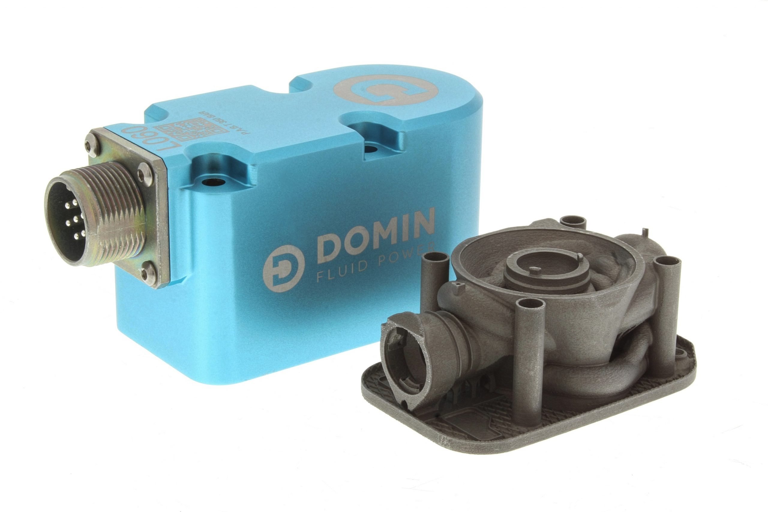 Domin's 3D printed ultra compact direct drive servo valves. Photo via Renishaw.