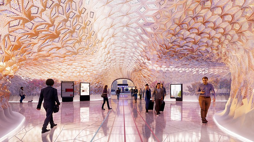 Rendering of the interior of Euston Station with the proposed design. Image via UCL.
