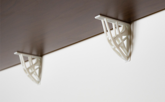 End-use shelving brackets 3D printed with Resin Tough White. Photo via Zortrax.