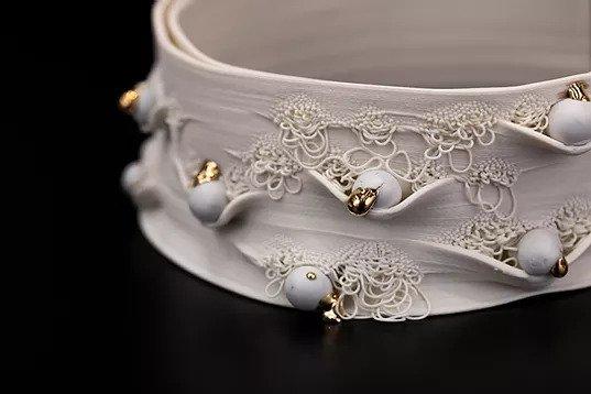 Nico Conti's Of Aurelian 3D printed porcelain, glaze, and gold lustre. Photo via Nico Conti.