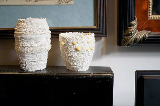 Nico Conti's Miscellany Series 3D printed porcelain and glaze. Photo via Nico Conti.