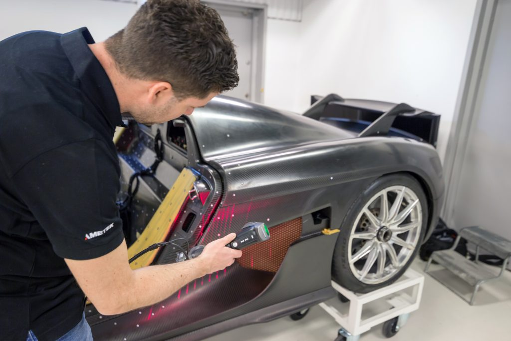 Scanning a Koenigsegg with the HandySCAN Silver Series. Photo via Creaform.