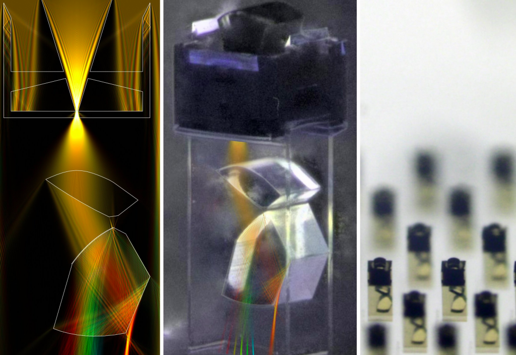 Three images of the researchers' 3D printed spectrometer.