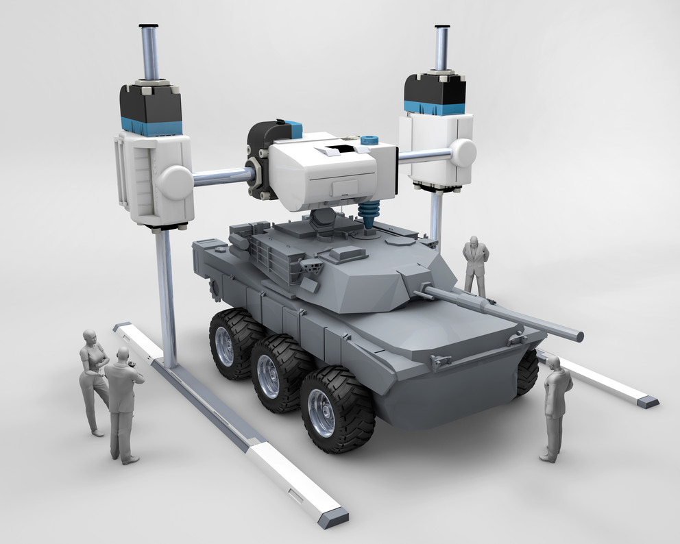 An animation showing a tank being 3D printed.