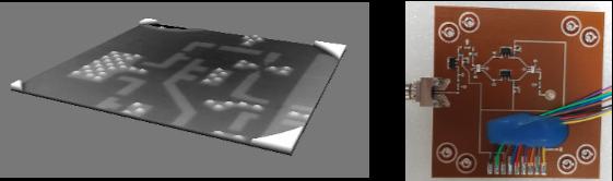 The 3D printed RF circuit board. Photo via Nano Dimension.