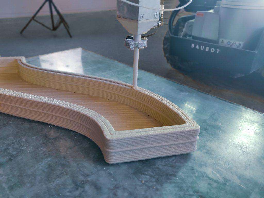 Concrete 3D printing with the Baubot. Photo via Printstones.