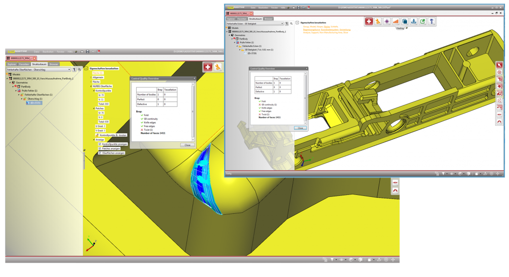 A screenshot taken from CoreTechnologie's 4D_Additive print preparation software.