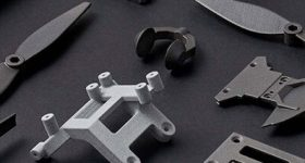 A selection of Shapeways 3D printed drone parts. '