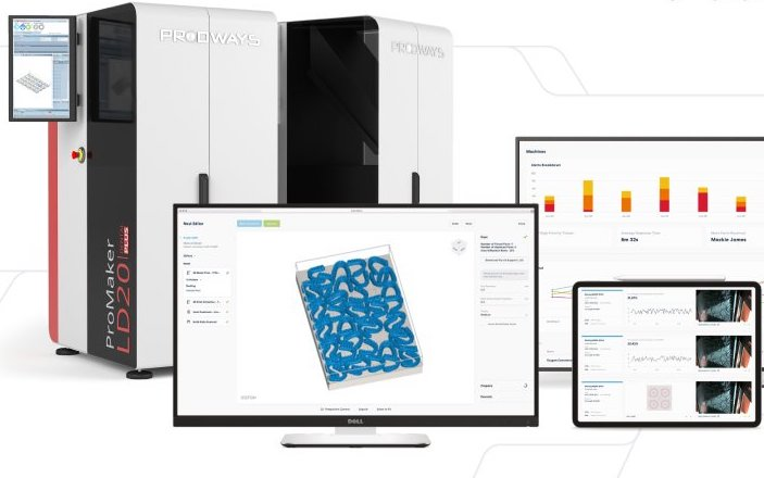 A Prodways 3D printer and three devices running Oqton's AI software.