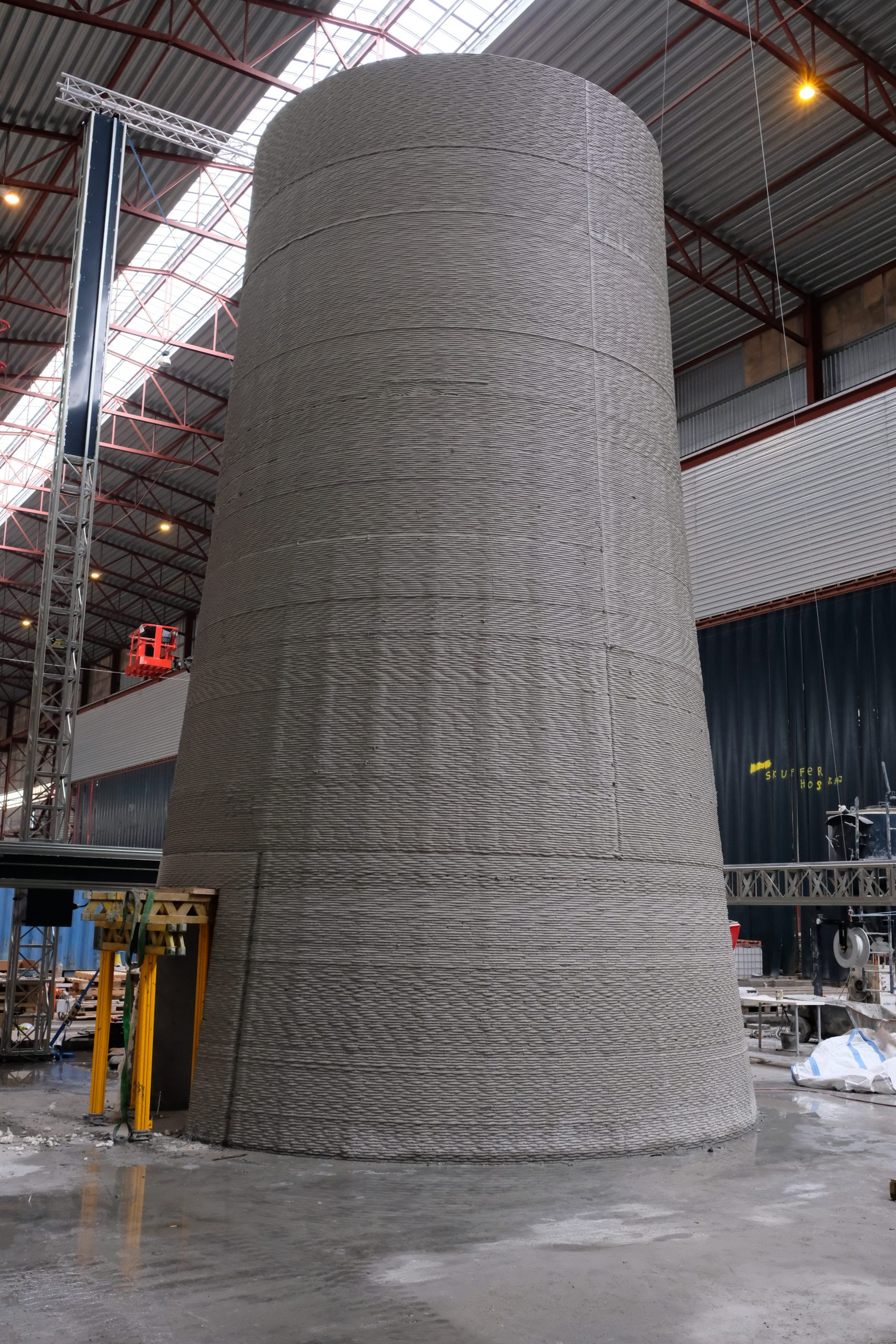 The 10-meter tall 3D printed wind turbine tower. Photo via COBOD.