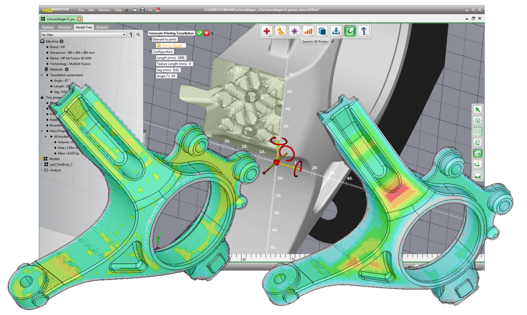 A screenshot showing the hollowing function of CoreTechnologie's 4D_Additive software.