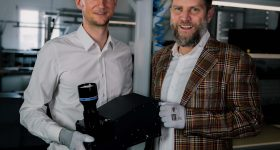 Christof Hieger (CTO) and Florian Zangerl (CEO) holding Phoenix. Photo via In-Vision.