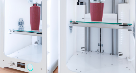 Two 3D printers being used to 3D print L'Oréal prototypes.