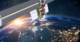 Image of a satellite in lower earth orbit.