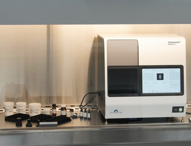 Allegro 3D's Stemaker Model D machine and some bioprinting materials.