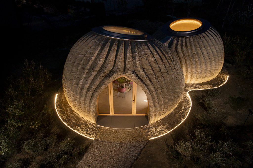 The TECLA 3D printed house was completed in 200 hours using just 6kw of energy. Photo via WASP.