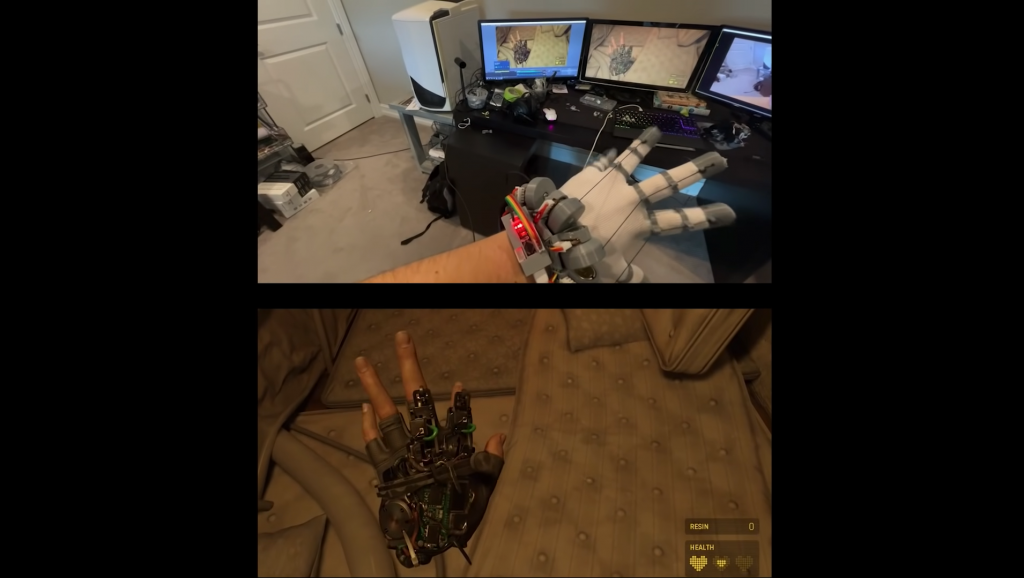The LucidVR being used to track finger movements in Half Life Alyx. Photo via Lucas VRTech.