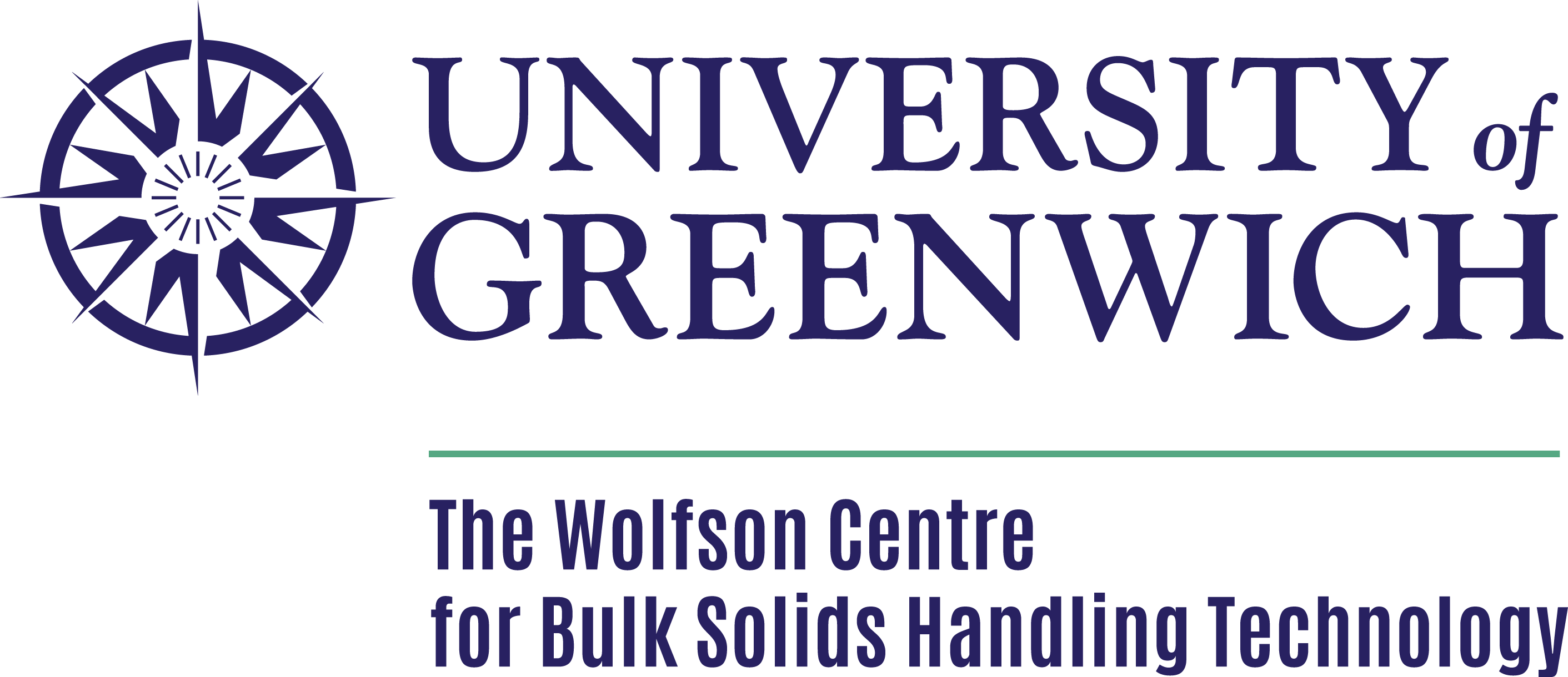 The Wolfson Centre for Bulk Solids Handling at the University of Greenwich logo.