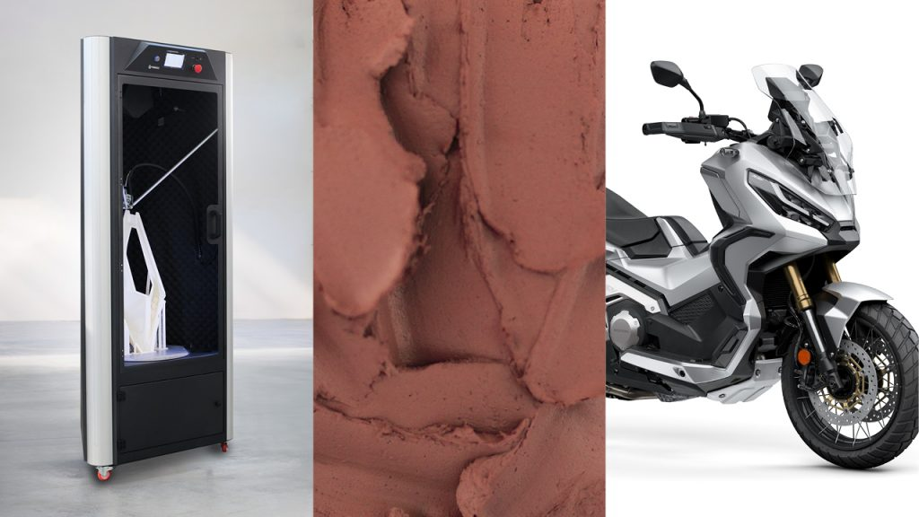 A WASP 3D printer alongside pictures of clay and a motorcycle.