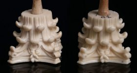 The researchers' 3D printed column capital replicas.