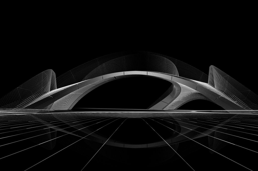 A conceptual rendering of the Striatus bridge being 3D printed in Venice.