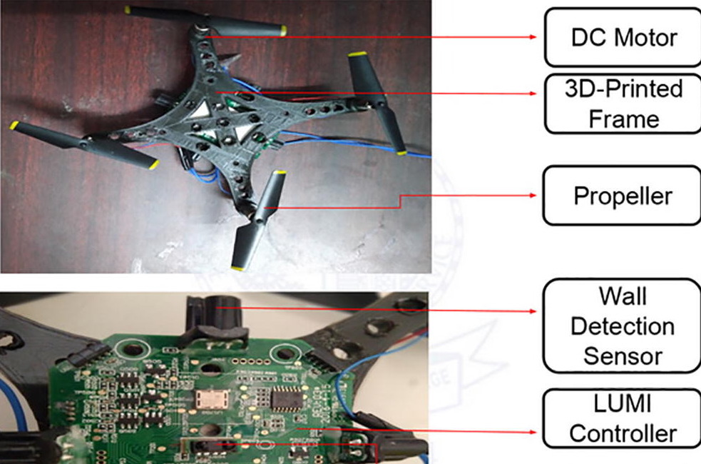 Two labelled images of the Indian team's 3D printed drone.