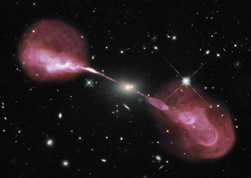 A concept image of a supermassive black hole in action.