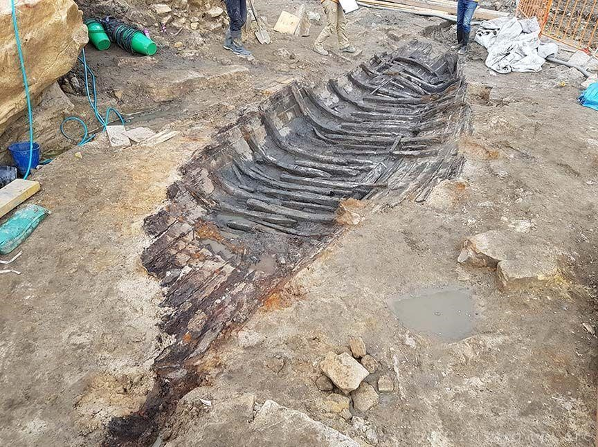 The Barangaroo Boat is thought to have been pulled up on shore at the end of its life, where it remained until it was unearthed during the excavations by Sydney Metro for the new Barangaroo Station. Photo via Irini Malliaros/Silentworld Foundation.