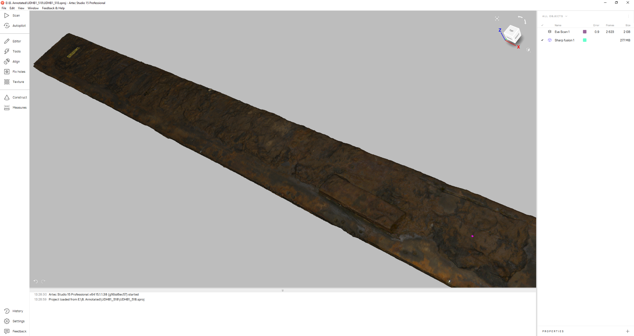Scans are processed into a clean 3D model of the timber using Artec Studio. The 3D models can then be used by the archaeologists to record detailed information about each piece in Rhino by closely inspecting the physical timber and then annotating the 3D model. Image via Sydney Metro.