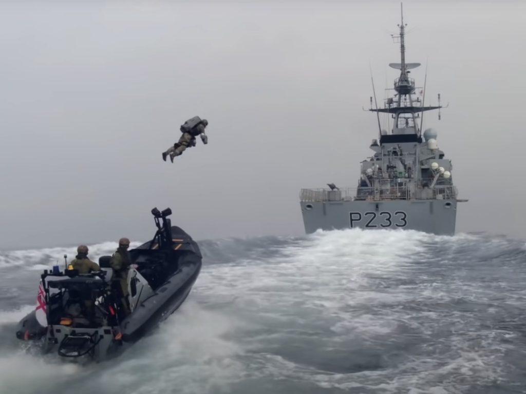 Browning boarding a Royal Navy patrol ship. Photo via Gravity Industries.