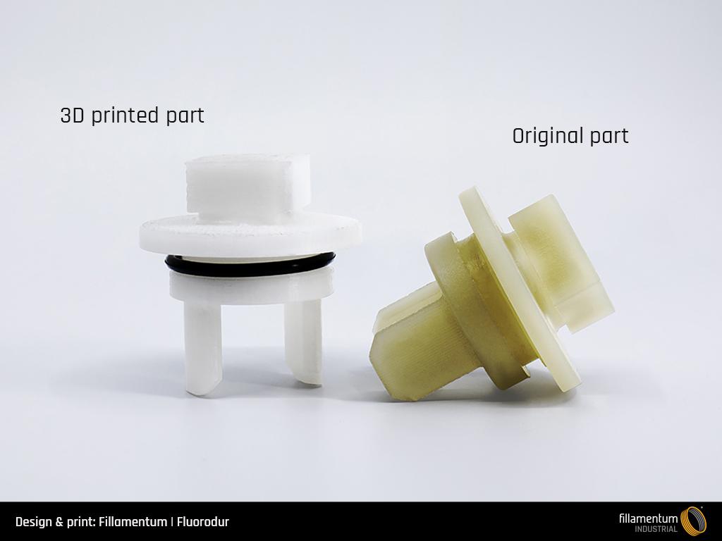 3D printed Fluorodur parts are already replacing PEEK in academia. Photo via Fillamentum.