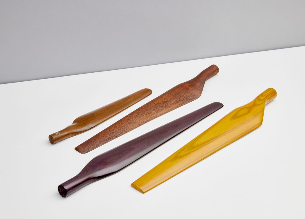 Wood propellers 3D printed using Desktop Metal's binder jet technology. Photo via Forust.
