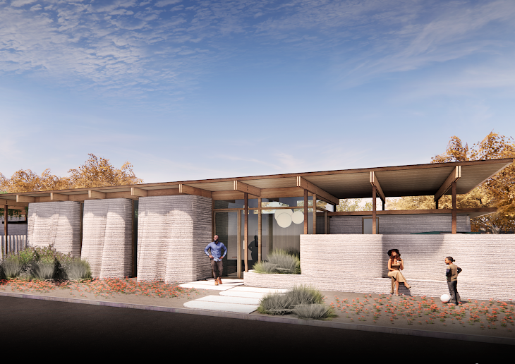 A concept rendering of ICON's House Zero structure.
