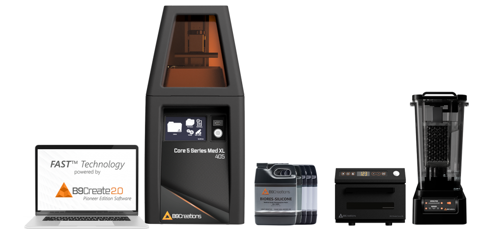 B9Creations' medical production pack, featuring the Core 5 Series Med XL 3D printer. Photo via B9Creations.