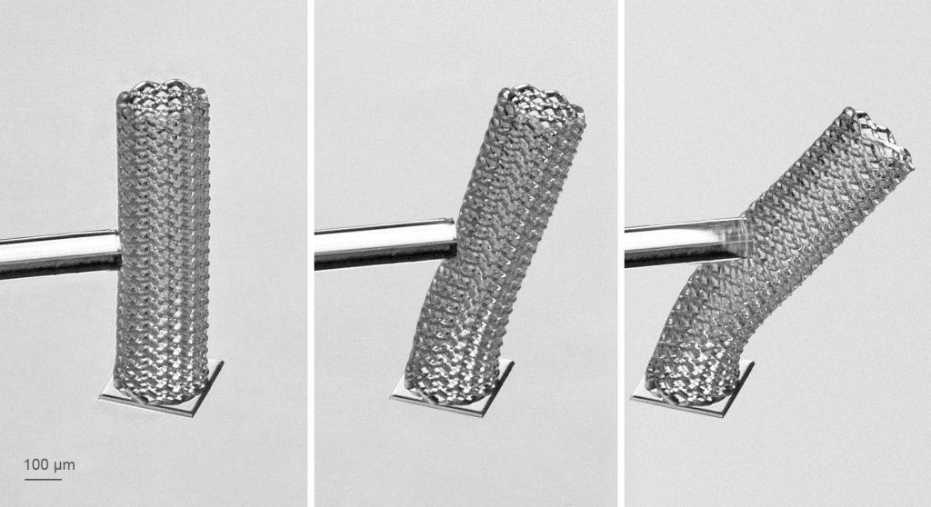 A meshtube 3D printed using Nanoscribe's IP-PDMS resin. Photos via Nanoscribe.
