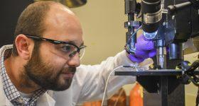 Professor Arda Gozen in the bioprinting lab. Photo via WSU.