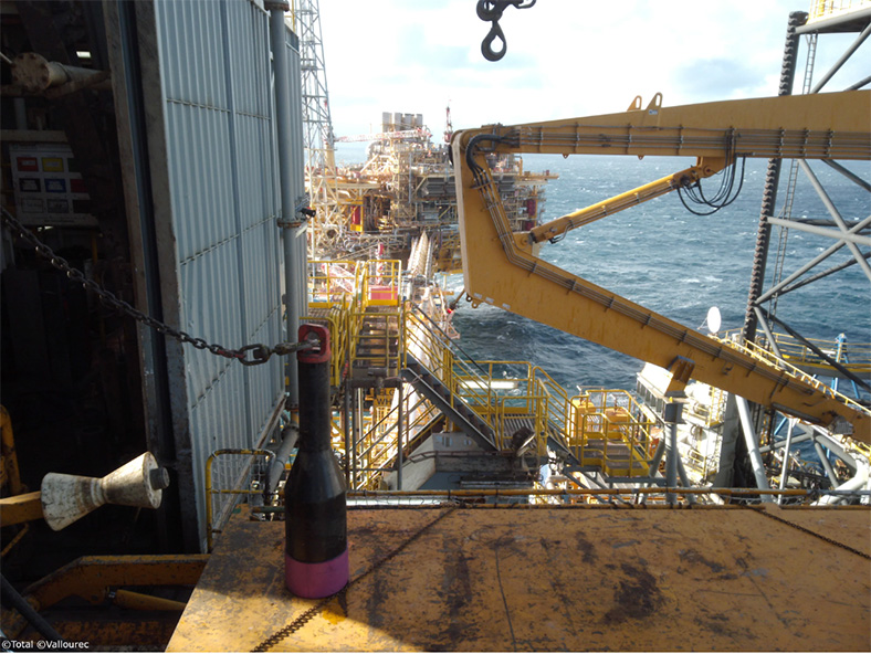 The 3D printed water bushing (lower left) on board the EIG Elgin-Franklin rig. Photo via Vallourec.