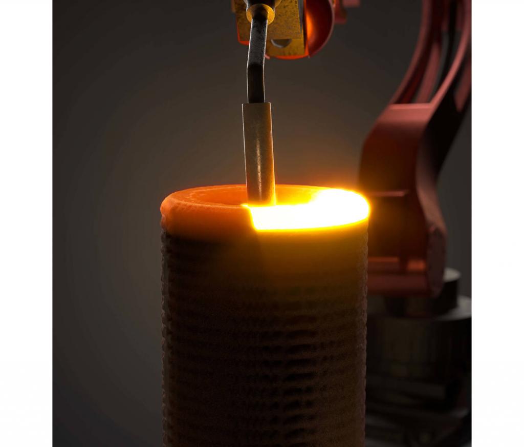 Vallourec's WAAM 3D printing process in action. Photo via Vallourec.
