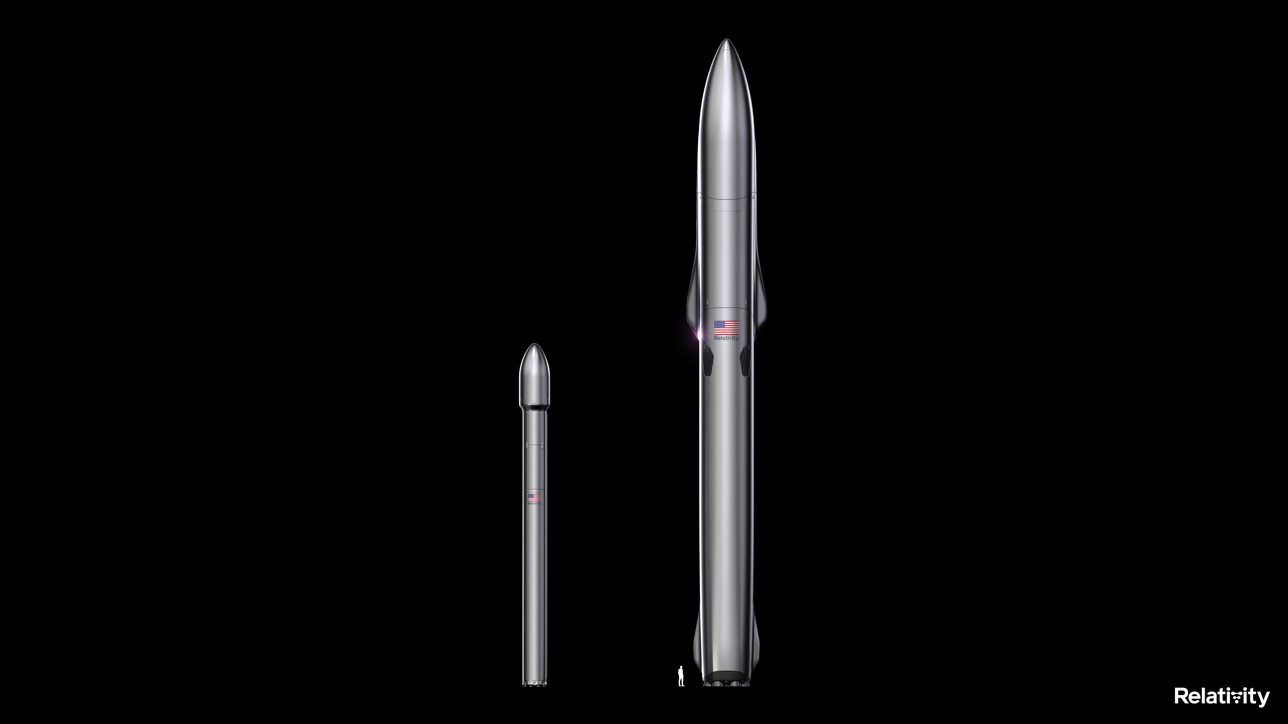 Left: The Terran 1 rocket. Right: The Terran R rocket with 20x payload capacity. Image via Relativity Space.