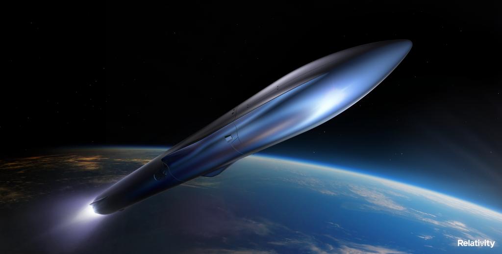Render of the reusable, fully 3D printed Terran R rocket. Image via Relativity Space.