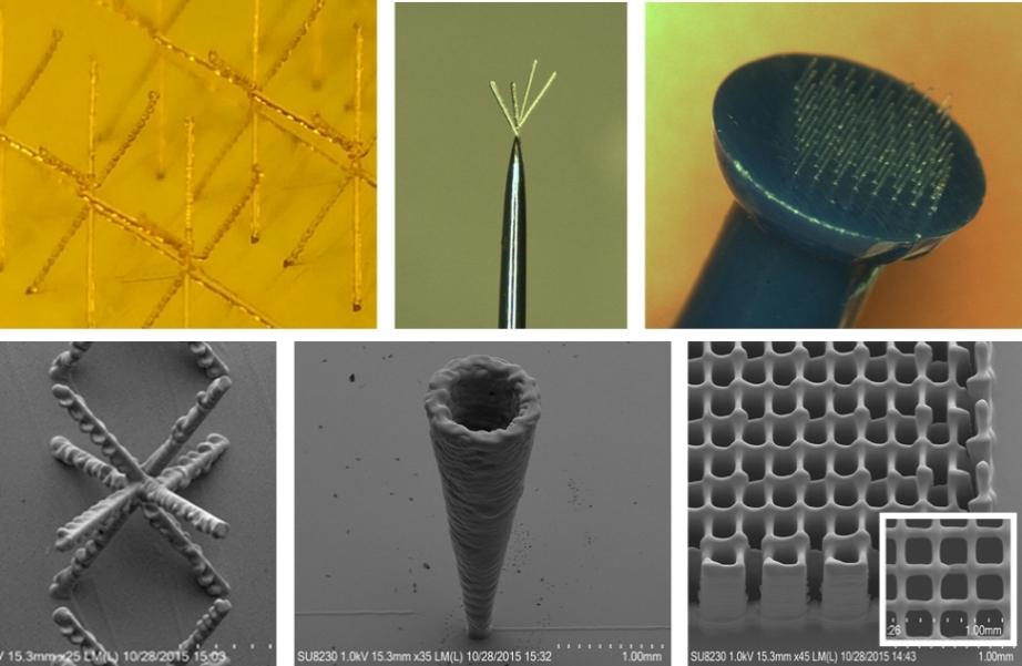 Microstructures 3D printed via Aerosol Jet. Image via Optomec.