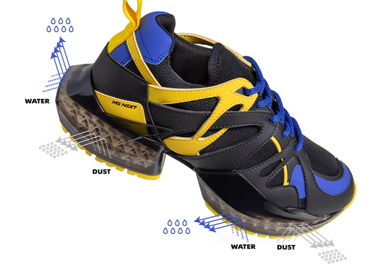 A labelled diagram of Me Next's 3D printed running shoe.