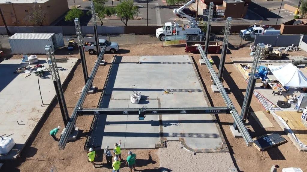 The 3D printing site in Tempe, Arizona. Photo via COBOD.