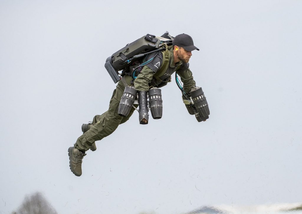 Gravity Founder Richard Browning testing the existing version of the firm's Jet Suit.